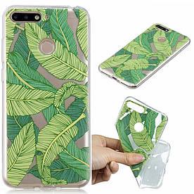 Чехол накладка для Huawei Y6 Prime 2018 ATU-L31 5.7 силиконовый IMD, Зеленые листья