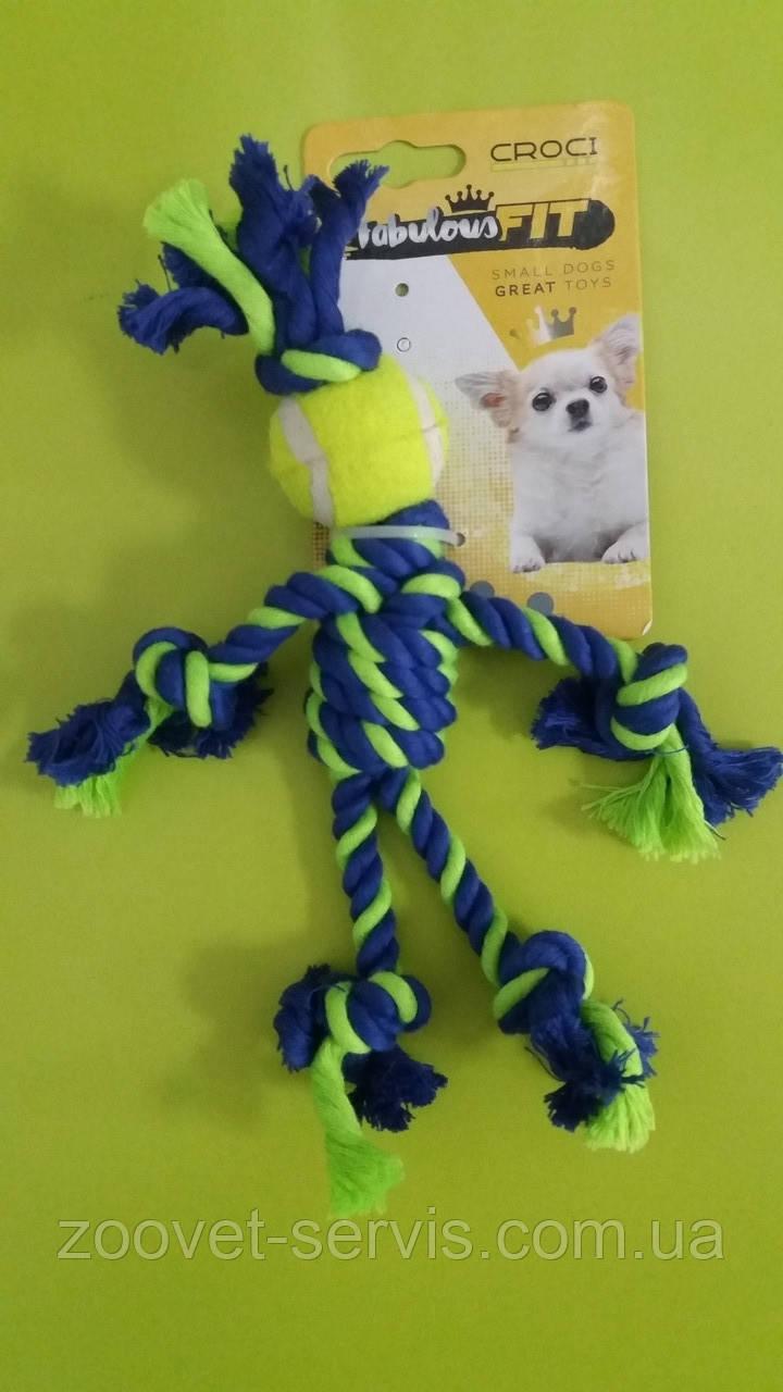 Игрушка для собак Croci мини канатный человечек зелёный 25 см C6098743