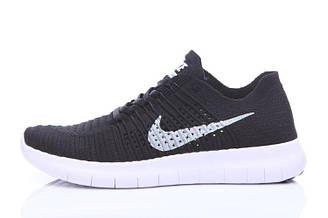 Оригинальные мужские кроссовки Nike Free Run Flyknit Black White | найк фри ран черные