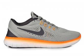Оригинальные мужские кроссовки Nike Free Run Flyknit V.1 Grey Orange |найк фри ран серые