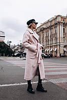 Длинное буклированное пальто на утеплителе оверсайз под пояс 14PA161, фото 1