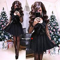 Платье с пышной юбкой и сеткой в цветочек 9PL2171, фото 1