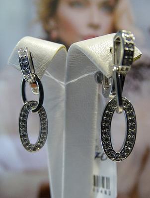 Серебряные серьги - подвески овалами