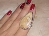 Кольцо с камнем пейзажная яшма капля 17,5 размер в серебре. Кольцо с яшмой. Индия!, фото 3