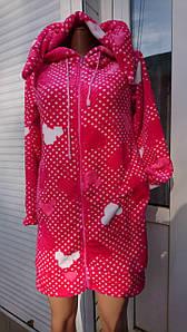 Модный махровый халат на молнии с ушками Микки 40-50 р, женские халаты оптом от производителя