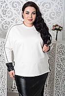 Женская кофта в больших размерах с вставками экокожи 10BR1214, фото 1