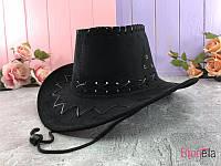 Шляпа Ковбой замшевая черного цвета детская на карнавальный праздник, новогодний утренник