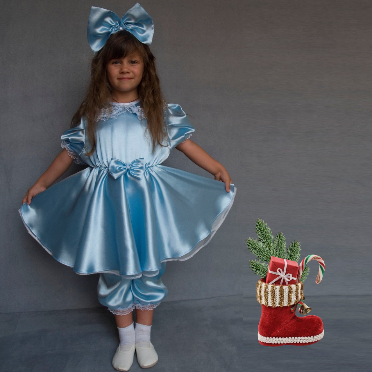 Детский карнавальный костюм для девочки  Мальвина - Голубой