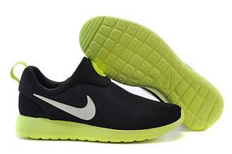 Оригинальные мужские кроссовки Nike Roshe Run Slip On GPX Black Green | найк роше ран слип черные