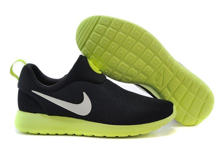 c53964c8 Мужские кроссовки Nike Roshe Run Slip On GPX Black Green   найк роше ран  слип черные