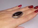 Шикарное кольцо черный оникс овал 18,2 размер в серебре. Кольцо с черным ониксом. Индия, фото 2