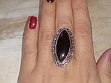 Шикарное кольцо черный оникс овал 18,2 размер в серебре. Кольцо с черным ониксом. Индия, фото 3