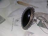 Шикарное кольцо черный оникс овал 18,2 размер в серебре. Кольцо с черным ониксом. Индия, фото 4
