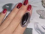 Шикарное кольцо черный оникс овал 18,2 размер в серебре. Кольцо с черным ониксом. Индия, фото 5