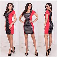 Женское облегающее короткое платье со вставками микро масла и пайеткой на  сетке 42, 44, 166b6195443