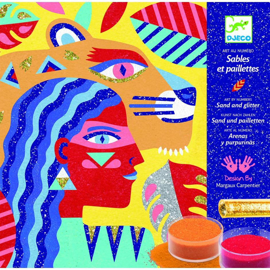 """DJECO Художественный комплект рисование цветным песком """"Тотемные животные"""""""