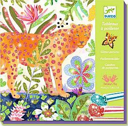"""DJECO  Художественный комплект рисование цветными блестками """"Тропики"""""""