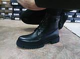 Кожаные зимние ботинки-берцы на молнии Bertoni, фото 9