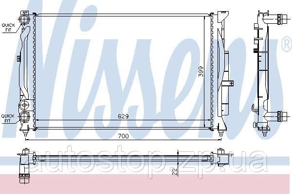 Радиатор охлаждения Фольксваген Пассат Б5 без конд. 1996--2006 Nissens (Дания) 60308A