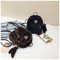 Меховый рюкзак с моордочкой среднего размера, рюкзаки женские, женский рюкзак, жіночі рюкзаки, жіночий рюкзак