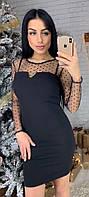 Женское облегающее короткое платье рукава и декольте из сетки с бархатной мушкой 42-44, 44-46