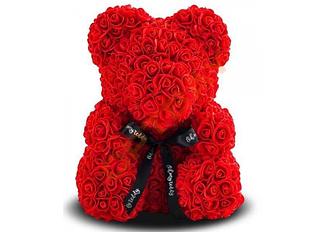 Мишка из искусственных 3d роз в коробке 25 см