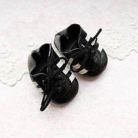 Обувь для кукол, кроссовки с белыми полосками черные - 7*3.5 см