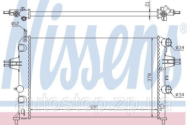 Радиатор охлаждения Opel Astra G 1.2/1.4 c конд. 1998--2010 Nissens (Дания) 63091