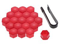 Универсальные заглушки на колесные болты, Красный 17 мм