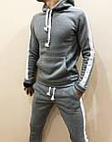 Костюм мужской спортивный утепленный серый с лампасами 4 цвета, фото 2