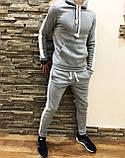 Костюм мужской спортивный утепленный серый с лампасами 4 цвета, фото 3