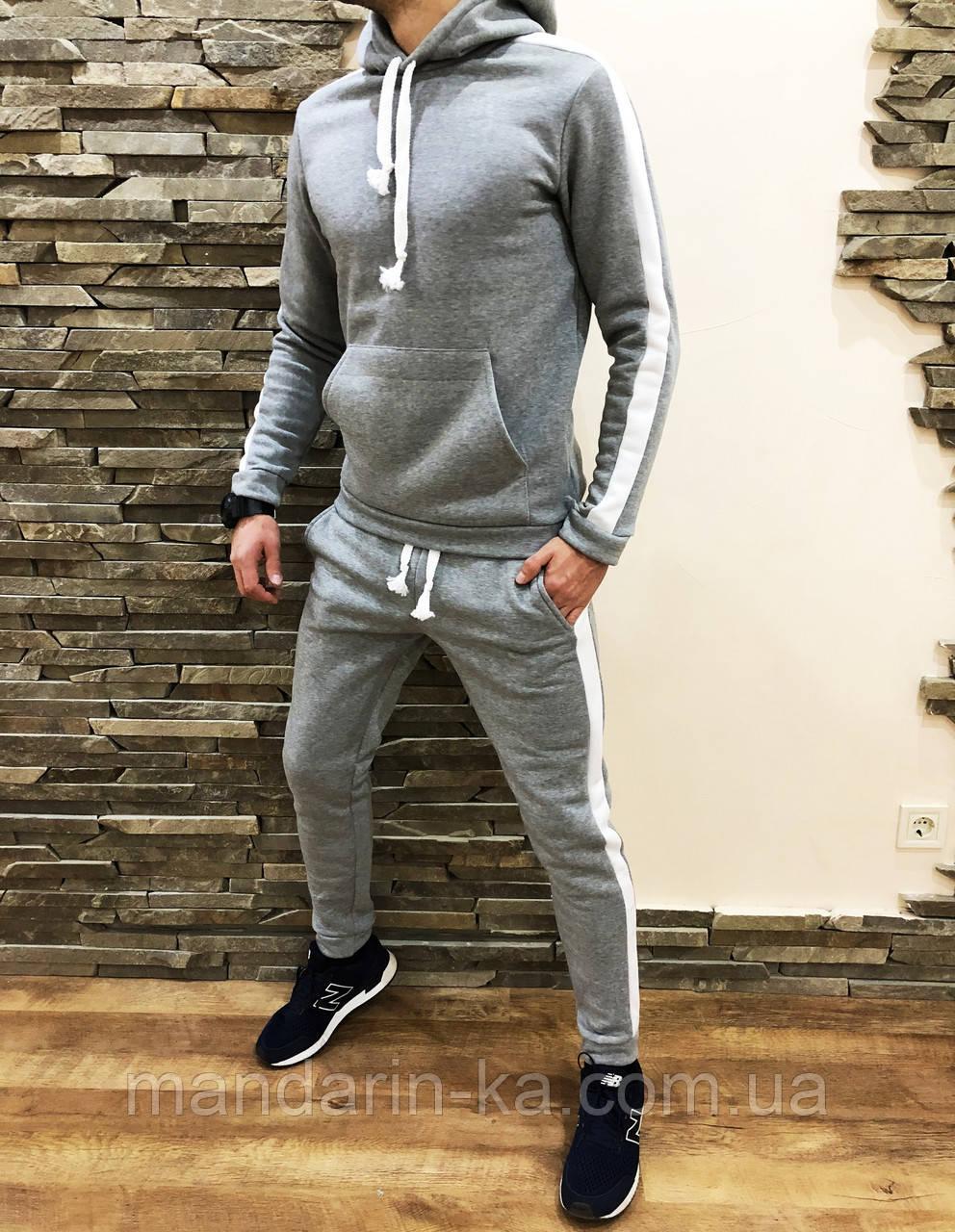 Костюм мужской спортивный утепленный серый с лампасами 4 цвета