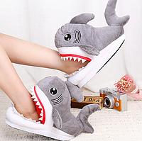 Тапочки-игрушки серые Акулы,36-39