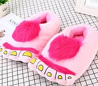 """Розовые тапочки игрушки """"Ноги первобытного человека"""", тапочки игрушки, тапочки кигуруми, тапочки для дома, тапочки іграшки, тапочки кигуруми, тапочки"""