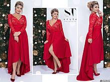 Платье БАТАЛ  сзади удлиненное в расцветках 48172, фото 3
