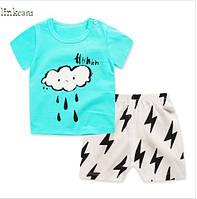 Пижама для мальчика футболка с короткими рукавами и шорты Linkcard Тучка рост 100 см бирюзовая 06136