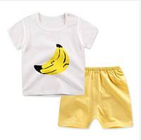 Пижама футболка с короткими рукавами и шорты Linkcard Банан рост 90 см белый+желтый 06126
