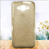 Чехол TWINS с блестками Samsung J700 Galaxy J7 Золотой