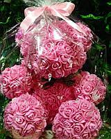 Розовый мишка из роз - необычный подарок для девушки (40 см), фото 1