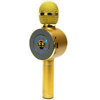 Беспроводной микрофон караоке bluetooth с чехлом WS668 золотой