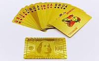 Игральные карты золотые GOLD 100 DOLLAR, колода в 54шт., толщина 0,28мм. (IG-4566-G)
