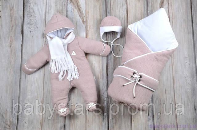 набор для новорожденного: комбинезон, шапочка и конверт