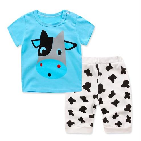 Пижама футболка и шорты  Linkcard  Корова рост 100 см бирюзовая 06137