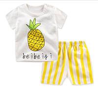 Пижама футболка и шорты  Linkcard Ананас рост 90 см белая+желтая 06128