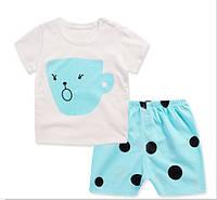 Пижама  футболка и шорты  Linkcard  Чашка рост 100 см белая+голубая 06139