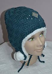 Зимова шапка-вушанка для дівчинки темно-бірюзова (AJS, Польща)