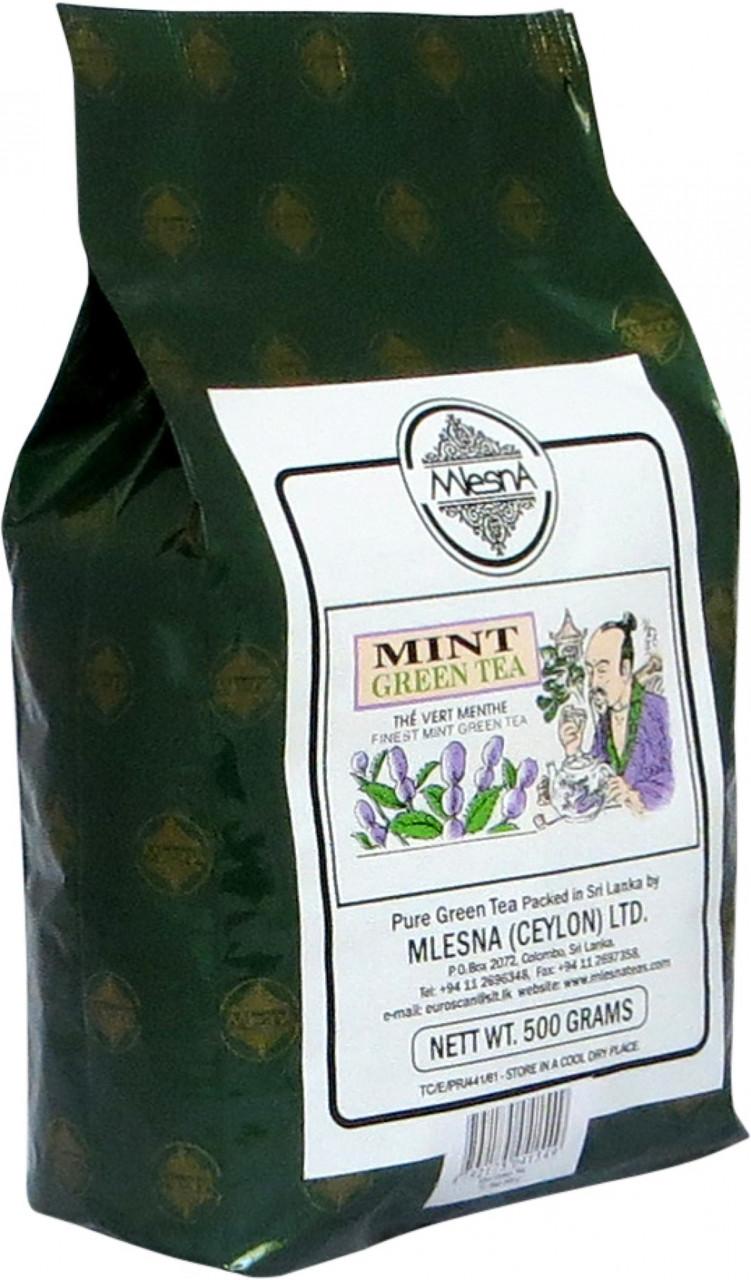 Зеленый чай Мята, MINT GREEN TEA, Млесна (Mlesna) 500г.