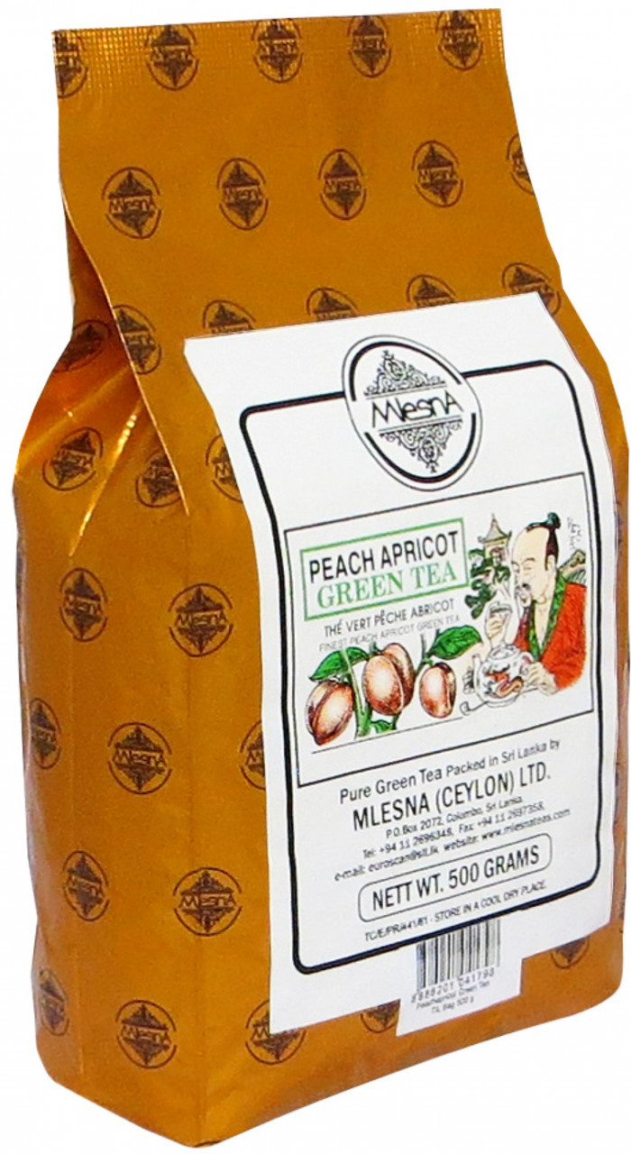 Зелёный чай Персик-Абрикос, PEACH AND APRICOT GREEN TEA, Млесна (Mlesna) 500г.