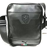 Барсетки кожвинил Ferrari+Nike (черный)19*23см, фото 2