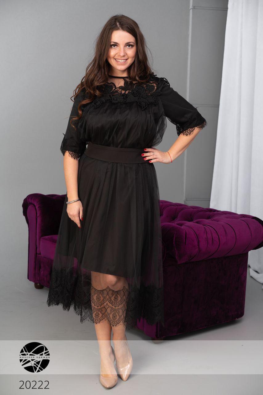 eb19627278d Вечернее платье черного цвета с сеткой и кружевами. Модель 20222. Размеры  48-56